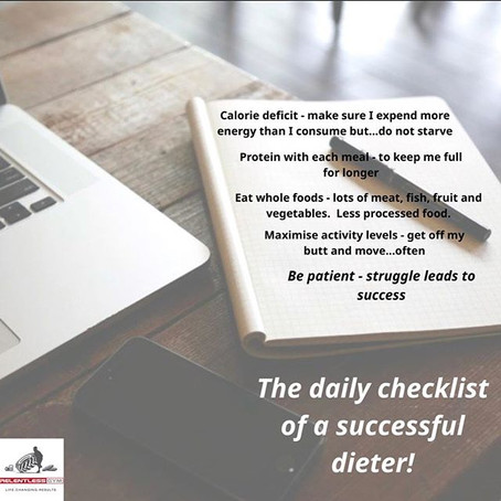 Daily checklist for a successful dieter