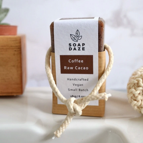 Coffee and Raw Cacao Soap on a Rope