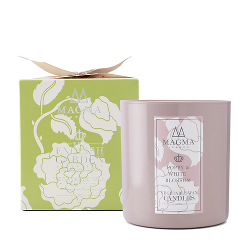 Magma London Poppy And White Blossom Large Vegetable Wax Candle 38cl