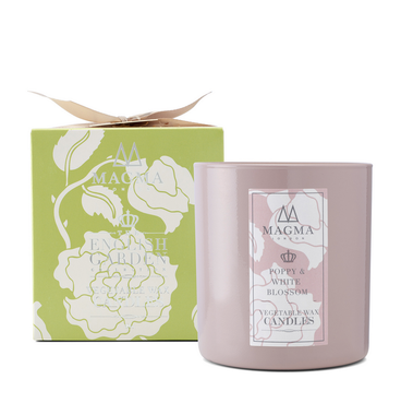 Magma London Poppy And White Blossom Large Vegetable Wax Candle