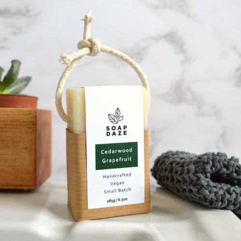 Cedarwood and Grapefruit Vegan Soap on a Rope 185g