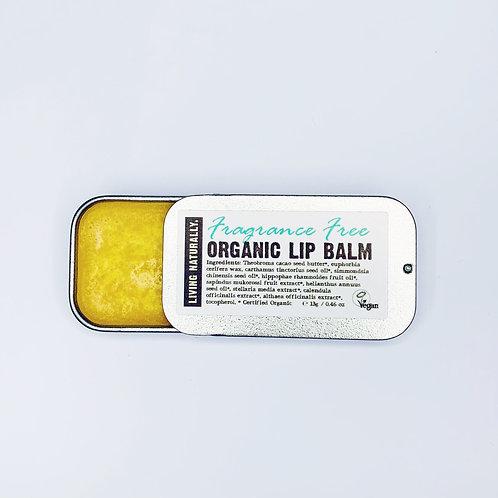 Living Naturally Organic Lip Balm - Fragrance Free 13g