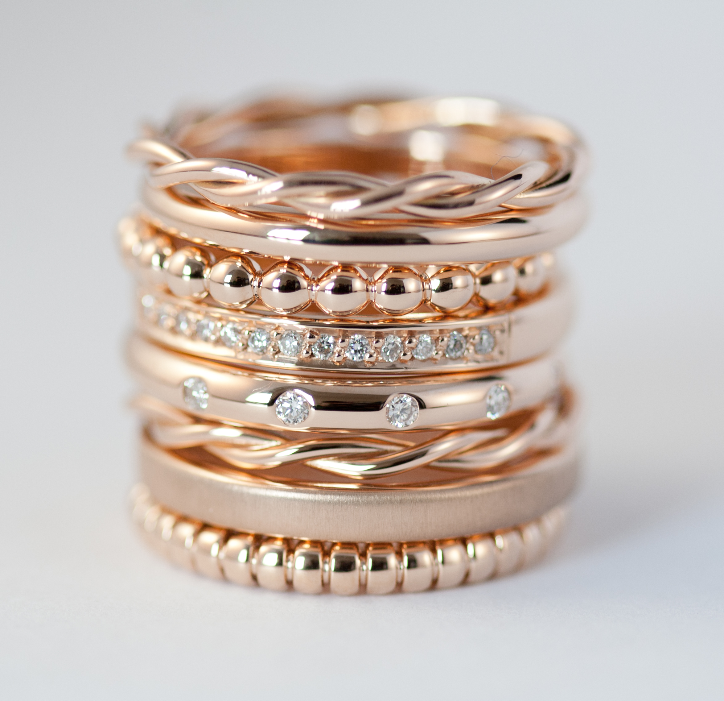 18ct gold & diamond stack ring