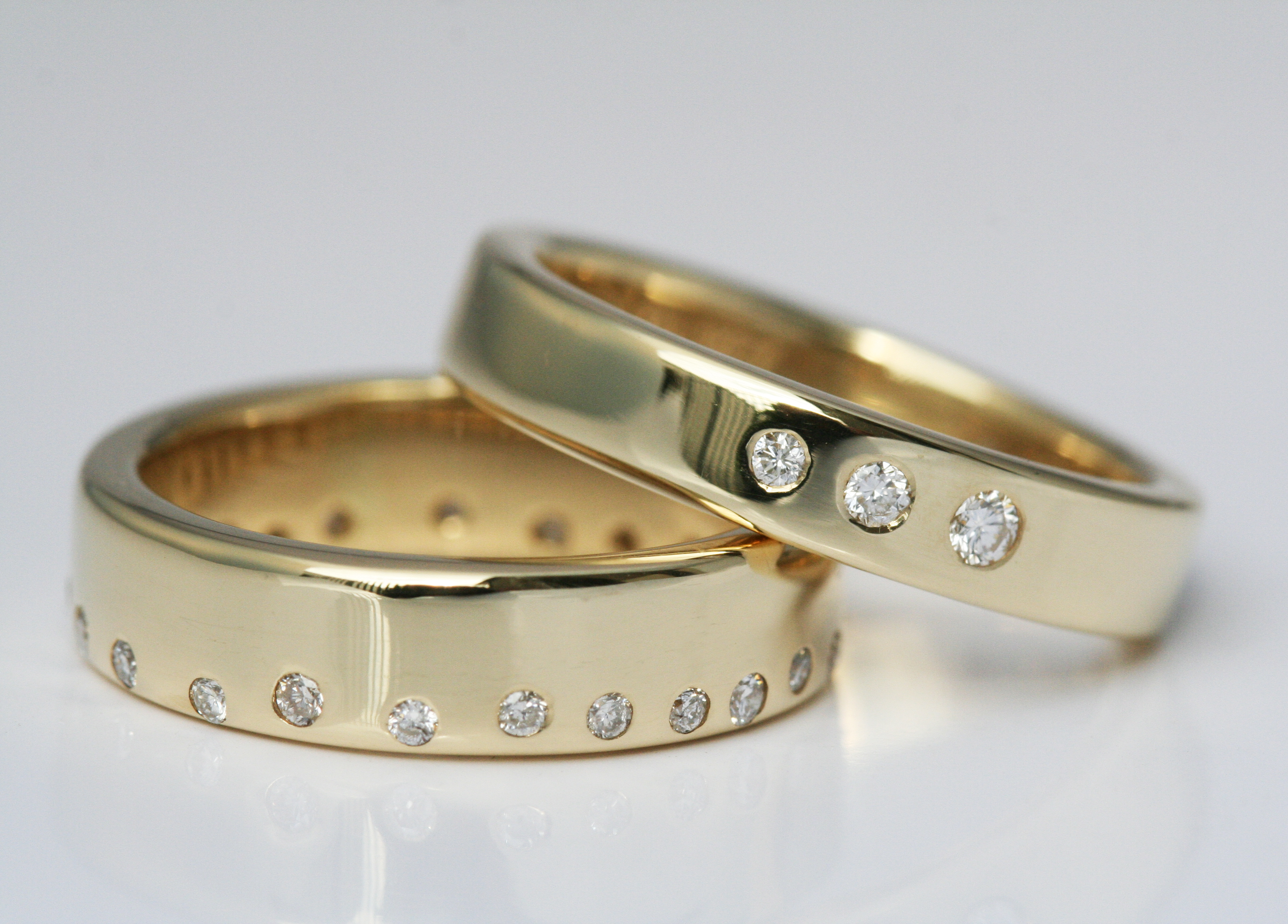 18ct diamond set wedding bands