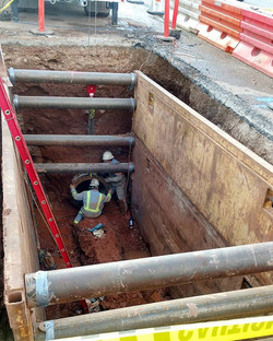 Now that's a big hole and pipe! 32_ water line tie in!! #rogersinc #diggindixie #dirtwork #heavyequi