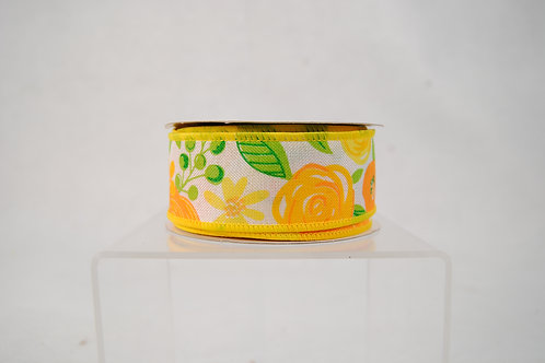 RIBBON BOLD BLOOMS 1.5X10 WHTE AND YELLOW