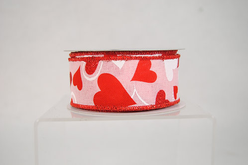RIBBON RED HEARTS ON PINK 1.5X10YDS