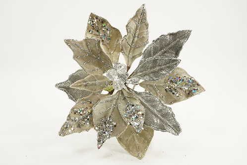 POINSETTIA WITH 2 LEAVS GLITTER GRAY
