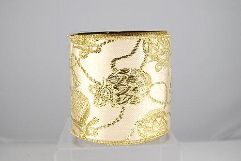 RIBBON GOLDEN ORN 4X10 IVO/GOLD