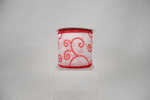 RIBBON EMB SWIRLS 4X10 WHT/RED