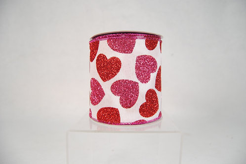 RIBBON WHITE WITH BOLD HEARTS 4X10YDS