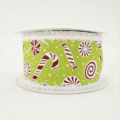 RIBBON CANDY CANE 2.5inx10yd LIME AND WHITE