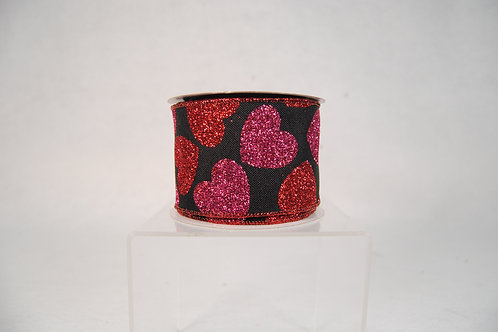 RIBBON BLACK WITH GIANT HEART FONTS 2.5X10YDS