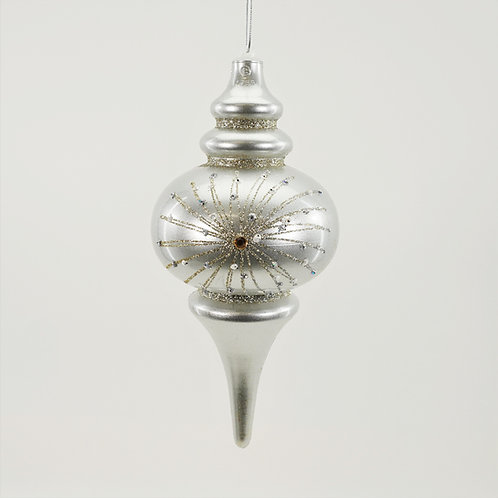 FINIAL 10IN SILVER WITH GLITTER AND JEWELS