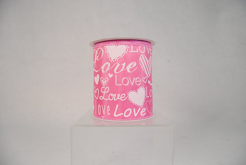 RIBBON WHITE WITH LOVE FONT 4X10YDS