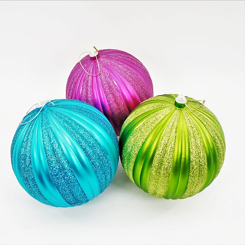 VERTICAL STRIPES 200mm BALLS WITH GLITTER