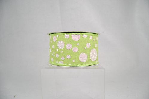RIBBON BUBBLY DOTS 2.5X10 GREEN AND WHITE