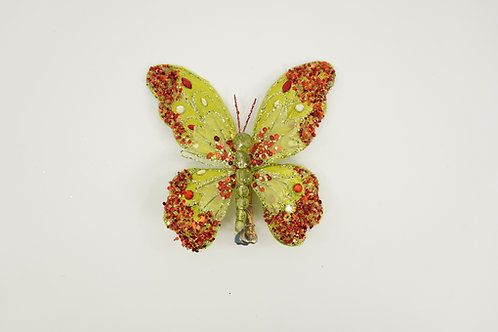 BUTTERFLY WITH CLIP MEDIUM GREEN RED
