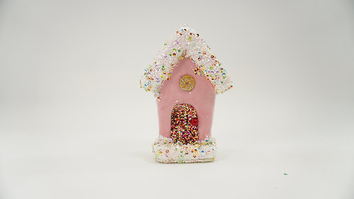 GINGERBREAD HOUSE 6IN PINK