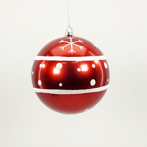 BALL WITH SNOWFLAKES 120MM 2PC BOX
