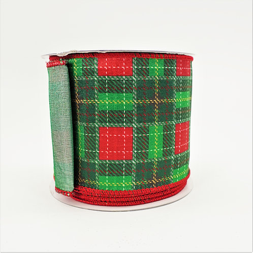 RIBBON SCOTCH PLAID 4in x 10yd GREEN AND RED
