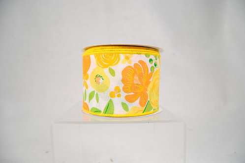 RIBBON BOLD BLOOMS 2.5X10 WHITE AND YELLOW