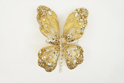 BUTTERFLY WITH CLIP LG LT GLD