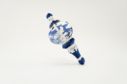 FINIAL BLUE AND WHITE 9IN
