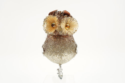 OWL WITH CLIP GOLD BROWN