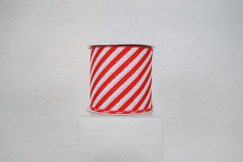 RIBBON LINEN STRIPES 4X10 RED/WHT