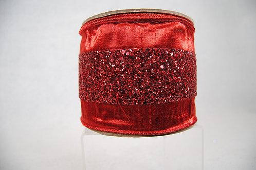 RIBBON GLITTER TRIM 4X10 RED