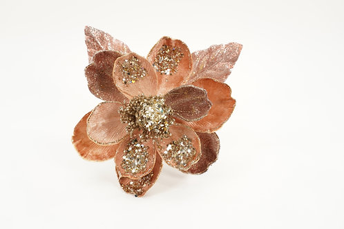 MAGNOLIA CLIP WITH 2 LEAVS ROSE GOLD