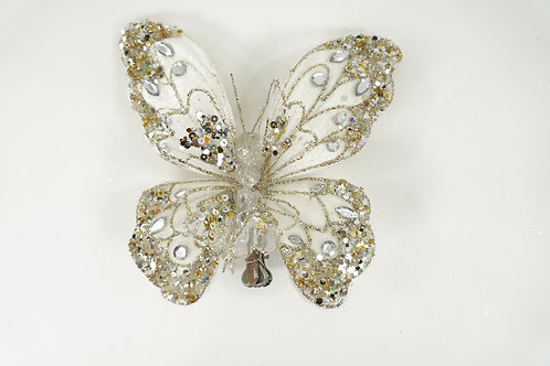 BUTTERFLY WITH CLIP MEDIUM LIGHT IVORY AND PLATINUM