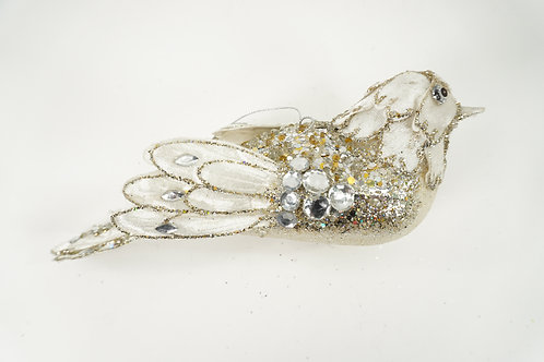 BIRD ORNAMENT PLATINUM WITH A TOUCH OF LIGHT IVORY