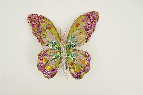 BUTTERFLY WITH CLIP GREEN