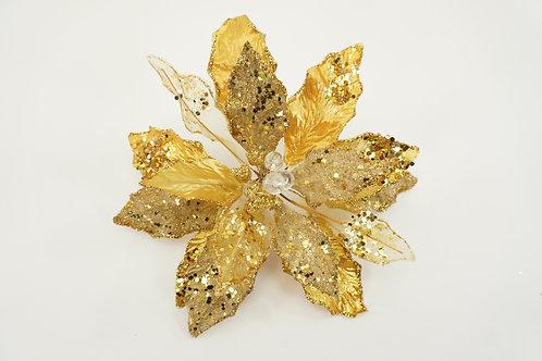 CLIP POINSETTIA LG GOLD