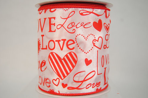 RIBBON 4X10YDS RED LOVE FONT