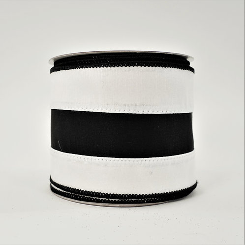 RIBBON LUSTER STRIPES 4in x 10yd BLACK AND WHITE
