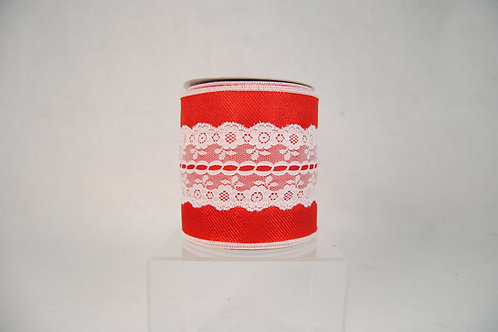 RIBBON4X10YDS RED WITH LACE OVERLAY