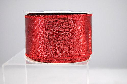 RIBBON METALLIC MESH 2.5X10 RED