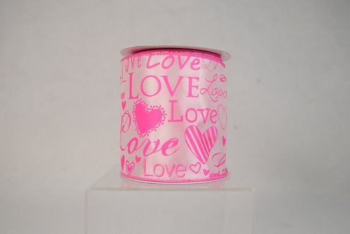 RIBBON4X10YDS PINK WITH LOVE FONT