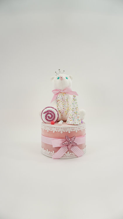 BEAR ON CAKE 15IN PINK WHITE