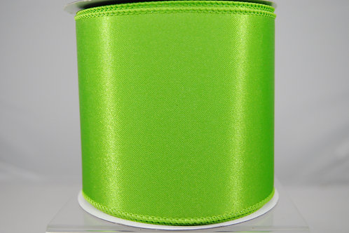 RIBBON CHRISTMAS SATIN 4X10 LIME