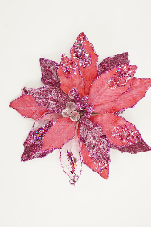 CLIP POINSETTIA LARGE PINK