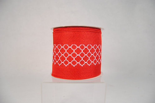 RIBBON 4x10YDS RED QUATREFOIL