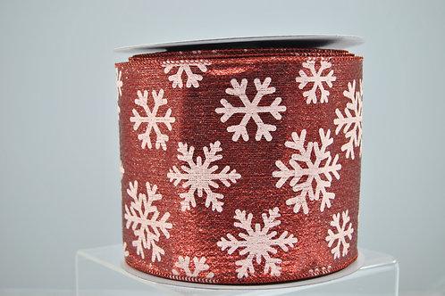 RIB SNOWFLAKES 4X10 RED 626-16