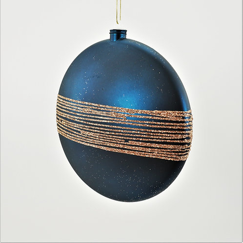 BALL 200MM MATTE BLUE WITH SAND GOLD GLITTER