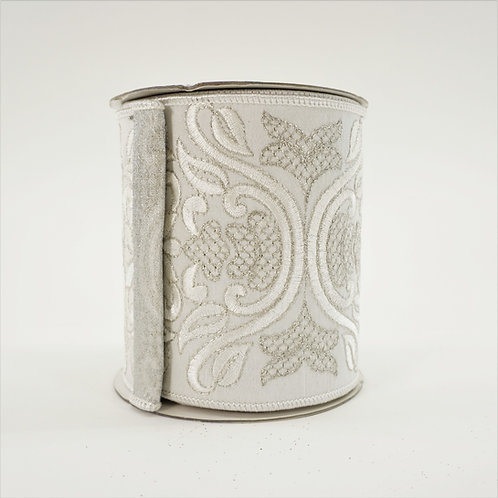 RIBBON EMBROIDERY DAMASK 4inX5yd IVORY AND SILVER