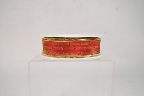 RIBBON GOLD METALLIC WITH RED 7/8X27YDS