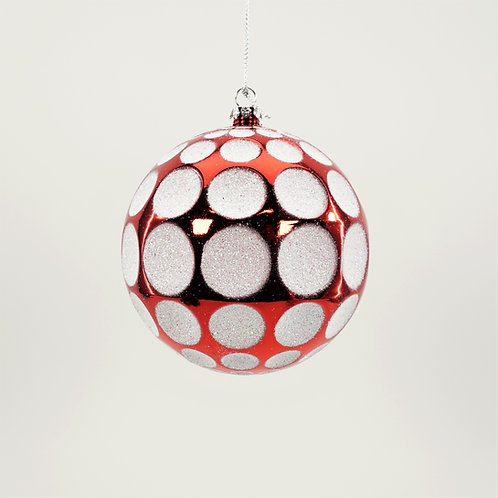 BALL GOLF 100MM 3PC BOX RED AND WHITE GLITTER